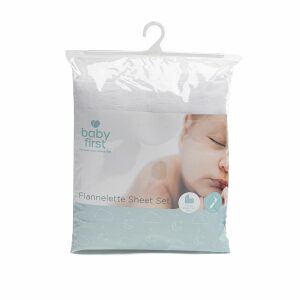 Baby First Large Flannelette Sheet Set White