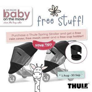 Thule Spring With Black Frame + FREE Rain Cover, Sun Cover & Cup Holder