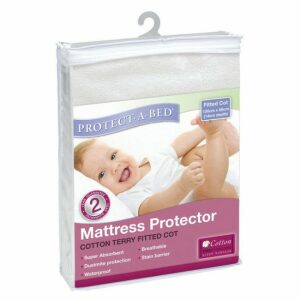 Protect-A-Bed Cotton Terry Protector Fitted Cot 130 X 68cm, White
