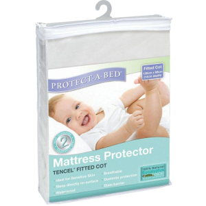 Protect-A-Bed Tencel Fitted Cot Mattress Protector 130 X 68cm, White