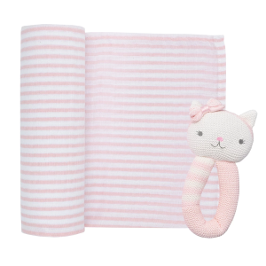 Living Textiles Muslin Swaddle & Rattle Gift Set Daisy The Cat
