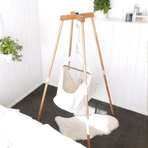 Natures Sway Organic Baby Hammock With Wooden Stand Pack