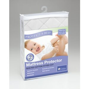 Protect-A-Bed Cotton Quilted Universal Cot Mattress Protector 130 X 76cm, White