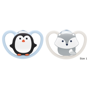 NUK Space Silicone Soothers 0-6mths 2pk